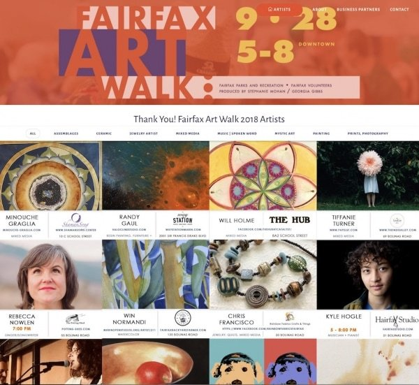 Fairfax Art Walk Home page